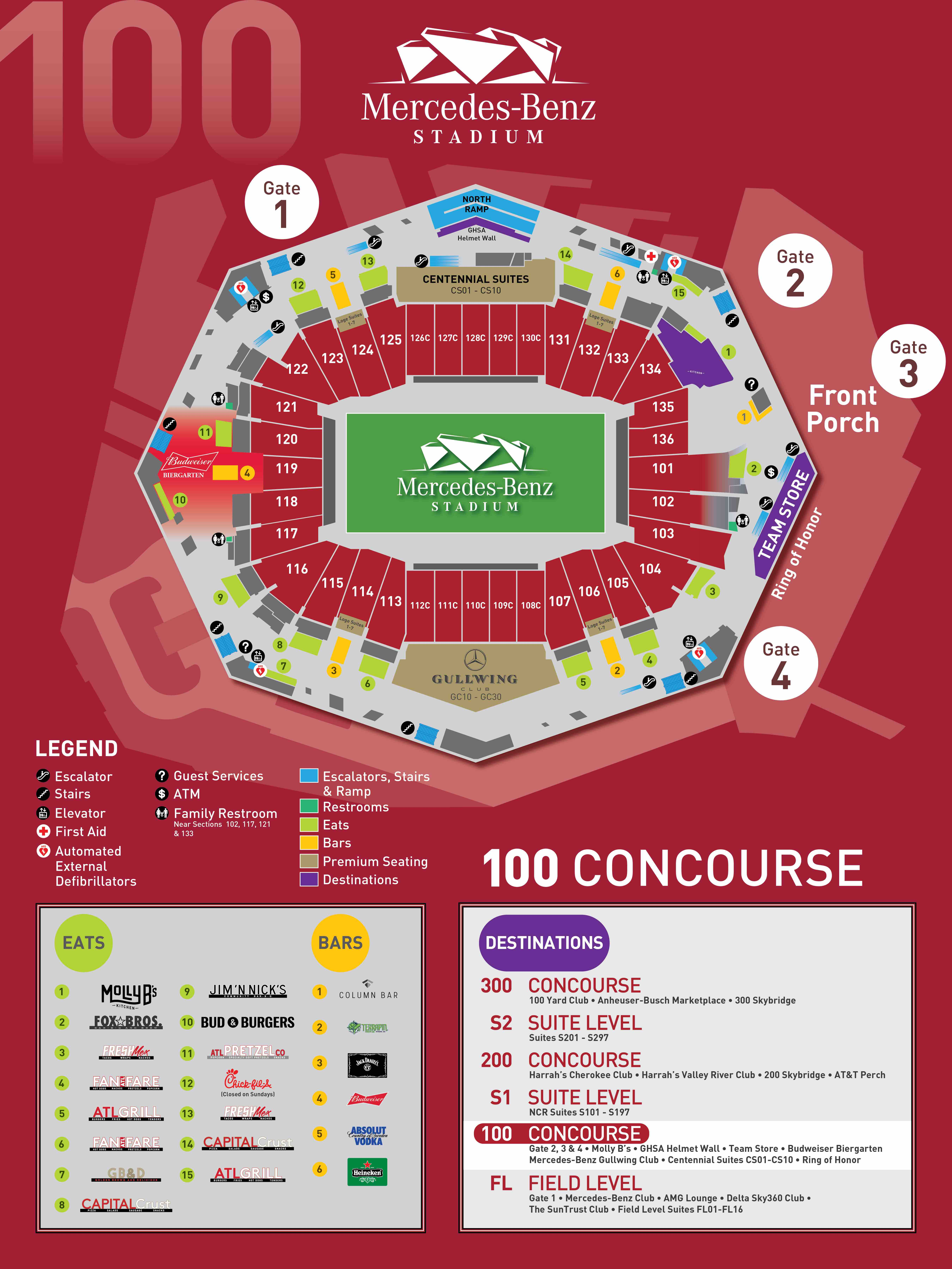 Stadium maps mercedes benz stadium for Mercedes benz dome atlanta seating chart